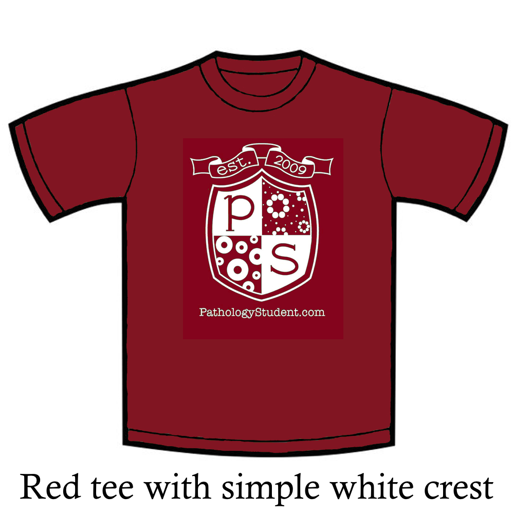Red tee with minimal top space and legend